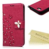 iPhoneSE/5/5S ケース Mavis's Diary 横置き 耐久性 保護ケース 吸着の機能 スタンド 手帳型 PUレザー素材 胡蝶 優雅な花 バラ色