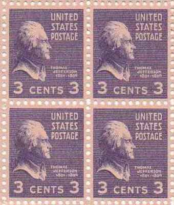 Thomas Jefferson Set of 4 x 3 Cent US Postage Stamps NEW Scot 807