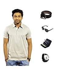 Garushi Grey T-Shirt With Watch Belt Sunglasses Cardholder - B00YMLK5XU