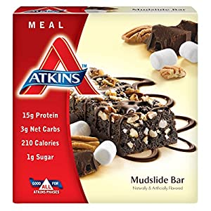 Atkins  Advantage Marshmallow Mudslide Meal Bar, 1.7 oz Bars, 5 Count (Pack of 6)