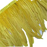 KOLIGHT Pack of 1 Yard Natural Rooster Feather Trim Fringe 12-14 Inch in Width DIY Decoration (Yellow)