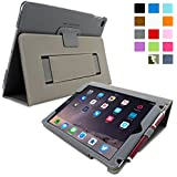 Snugg iPad Air 2 Case - Smart Cover with Flip Stand & Lifetime Guarantee (Grey Leather) for Apple iPad Air 2 (2014)