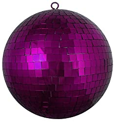 "Huge Majestic Purple Mirrored Glass Disco Ball Christmas Ornament 12"" (300mm)"