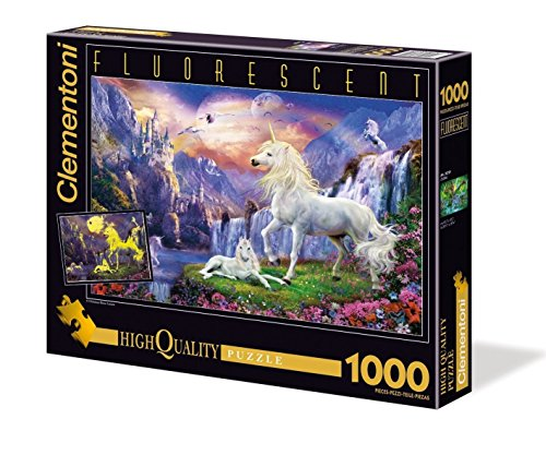 Clementoni-392858-Puzzle-Licorne-fluorescent-1000-pices