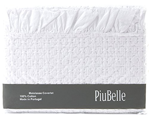 Shabby Chic Ruffled Bedspread Matelasse Cotton Coverlet King Cal.King French Country Style Frilled Bedspread Stone Washed Textured (Rachel Quilted Bedding compare prices)