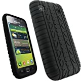igadgitz Black Silicone Skin Case Cover with Tire Tread Design for Samsung Galaxy S i9000 Android Smartphone Cell Phone + Screen Protector