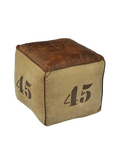45 Canvas Pouf, Natural/Brown As You See