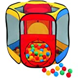 "Six Sided Hexagon Twist Play Tent w/ 100 ""Phthalate Free"" Crush Proof Non-Toxic Non-Recycled Balls & Safety Meshing for Child Visibility - FREE Mystery Gift"