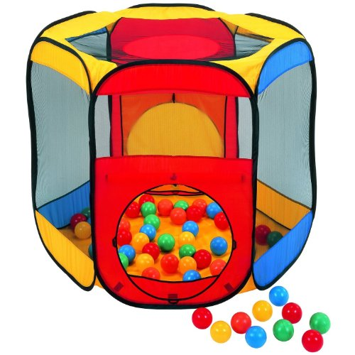 "Six Sided Hexagon Twist Play Tent W/ 100 ""Phthalate Free"" Balls & Safety Meshing For Child Visibility: Free Mystery Gift"