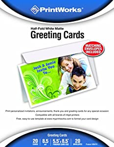 Printworks Greeting Cards 1/2 Fold with Envelopes, 20 Count (00474)