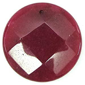 40mm faceted ruby red jade coin bead pendant