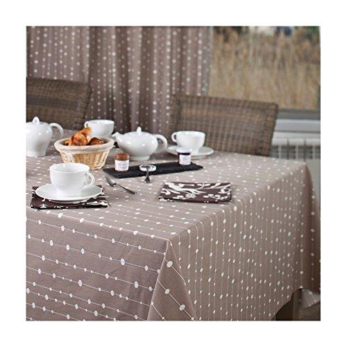Fleur De Soleil n120eprlt Tischdecke QUADRATISCH Beschichtete Baumwolle Taupe/Weiß 120x 120cm