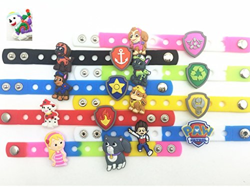 24pcs NEW (Puppy Power) Paw Patrol Ryder Katie Bone Shield Background Charms & Wristband Bracelet image