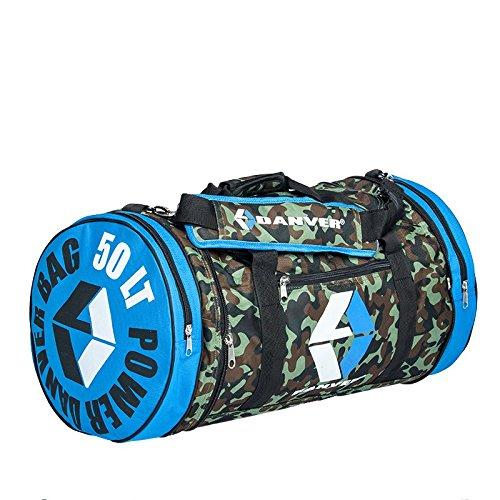 Danver Power Camouflage Borsone Sportivo, Mimetico/Blu, 50 l