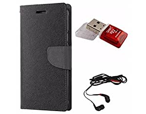 Avzax Diary Look Flip Wallet Case Cover For Sony Xperia C3 (Black) + Memory Card Reader + In Ear Headphone