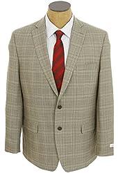Calvin Klein Mens Light Brown Plaid Slim Fit Wool Sport Coat Jacket