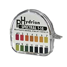 Micro Essential Lab 94 Hydrion Spectral Insta-Chek Wide Range pH Test Paper Dispenser, 1 - 14 pH, Single Roll (Case of 10)