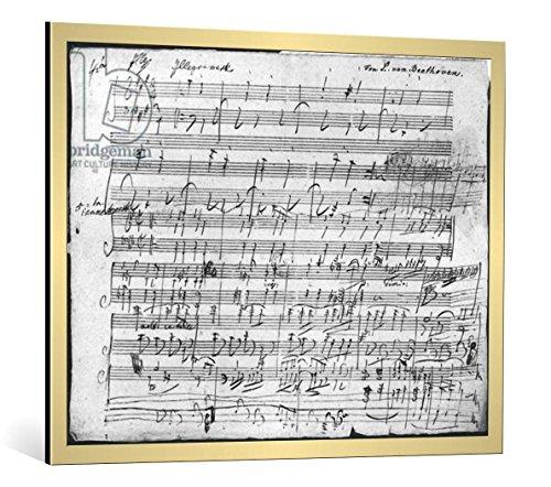 """Quadro con cornice: Ludwig van Beethoven """"Autograph score sheet for the 10th Bagatelle opus 119"""" - stampa artistica decorativa, cornice di alta qualità, 100x80 cm, Oro spazzolato"""