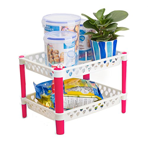 Honla Plastic Cabinet and Counter Shelf Organizer Rack with 2-Tier Perforated Storage Baskets/Trays Set,Small Space Helper Solutions for Pantry,Cupboard,Countertop Organization,Pink and White (Countertop Organization compare prices)
