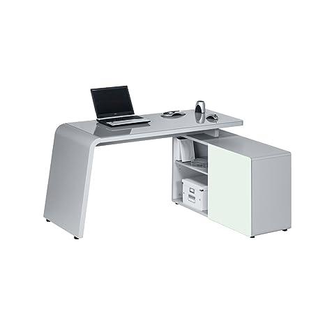 Maja 95106305- Mesa de escritorio y ordenador 95106305, 1,204X 769X 1,545mm, metal y cristal color gris
