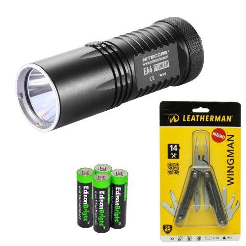 Nitecore Ea4 860 Lumen Cree Xm-L U2 Led Compact Flashlight/Searchlight With Genuine Leatherman Wingman Multi-Tool 831426 And Four Edisonbright Aa Alkaline Batteries Bundle
