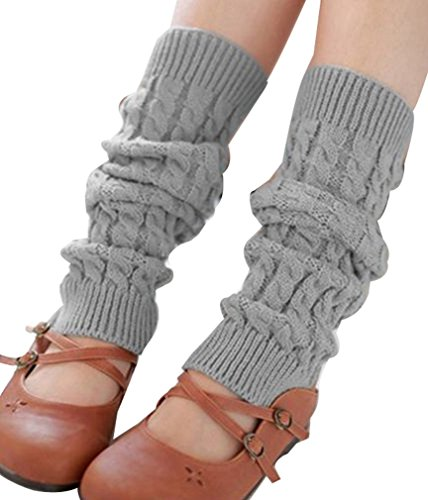 Ninimour- Women's Winter Knit Crochet Leg Warmers Legging (light gray)