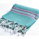 "Cacala 100% Cotton Pestemal Turkish Striped Bath Towel, 37 x 70"", Aqua/Purple"