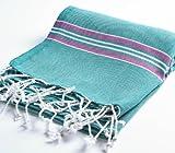 "Cacala 100% Cotton Pestemal Turkish Striped Bath Towel, 37 x 70"", Aqua/Purple"