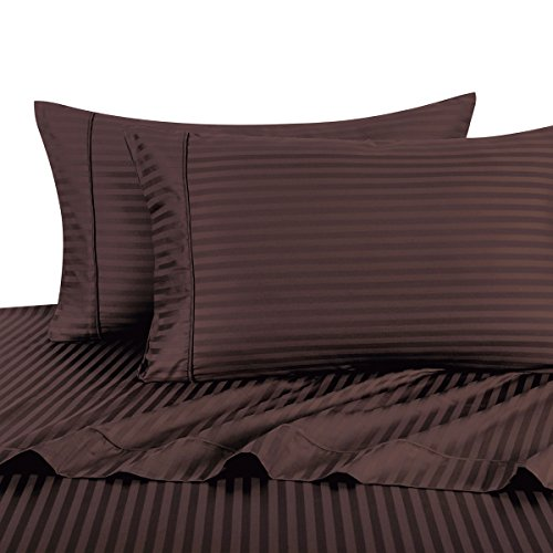 Stripe Chocolate Queen Size Sheets, 4PC Bed Sheet Set, 100% Cotton, 300 Thread Count, Sateen Striped, Deep Pocket, by Royal Hotel (Royal Hotel Collection Bedding compare prices)