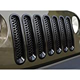 ICARS [Upgrade Clip in Version] Glossy Black Mesh Grill Insert Jeep Grille Guard for 2007-2018 Jeep Wrangler JK JKUUnlimited Rubicon Sahara - 7PCS