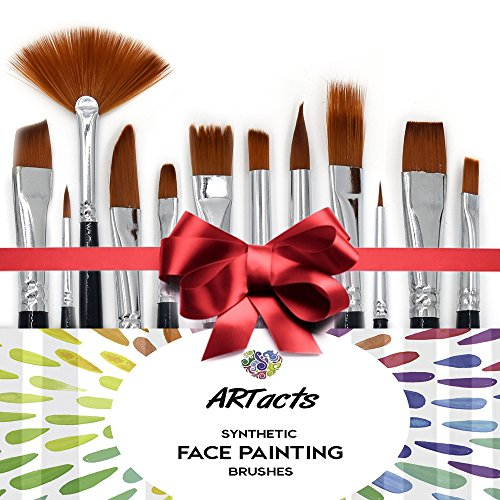 Face Paint Brush Set by ARTacts--A Set of 12 Premium Quality Face Painting Brushes That Are Soft, Hold Paint And Great For Using Watercolor, Oil, And Acrylic Paints. (Face Paint Brush Cleaner compare prices)