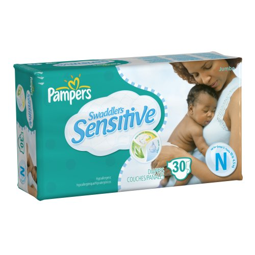 Pampers Swaddlers Sensitive Size NB Diapers, 30 Count (Pack of 4) (Packaging May Vary)