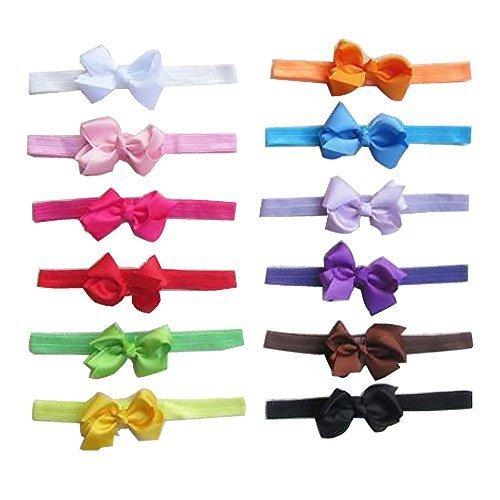 Tiaobug 12pcs Bandeau Cheveux Elastique avec Nœuds Papillon pour Bébé Fille