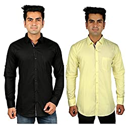 Nimegh Black, Yellow Color Cotton Casual Slim fit Shirt For men's (Pack of 2)