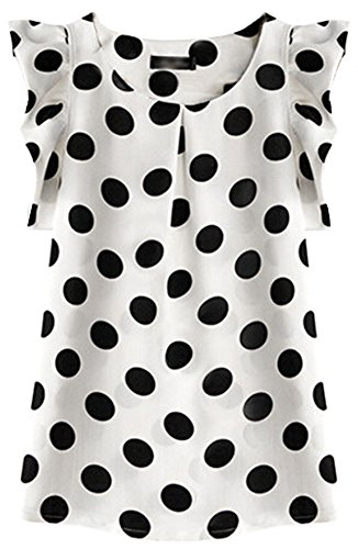 SportsWell Women's Dots Pleated Sleeve Slim Fit Blouse Girls Chiffon Tee Shirts M, White