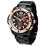 Jorg Gray Mens 9100 Chronograph - Black & Rose Gold Steel - Bracelet by JorgGray