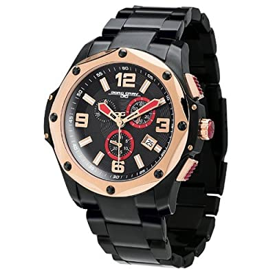 Jorg Gray Mens 9100 Chronograph - Black & Rose Gold Steel - Bracelet
