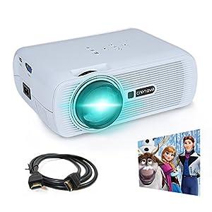 Projector, Crenova XPE460 LED Upgraded Projector 1200 Lumens 800*480 Resolution Home Cinema Support PC Laptop USB TV Box iPad Smartphone - White by Crenova