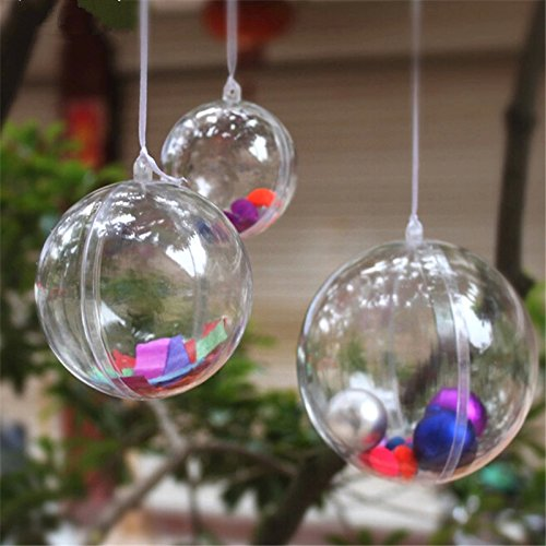 [Christmas Decorations Ball Transparent Can Open Plastic Christmas Clear Bauble Ornament Gift Present] (Vintage Blow Up Halloween Costumes)