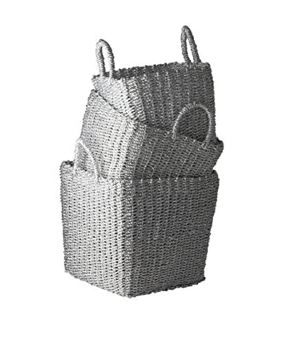 Set of 3 Recycled Twisted Silver Foil Nesting Baskets, Silver