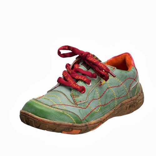TMA EYES 1366 Schnürer Gr.36-42 mit bequemen perforiertem Fußbett , Leder 39.35 super leichter Schuh der neuen Saison. ATMUNGSAKTIV in Grün Gr. 36