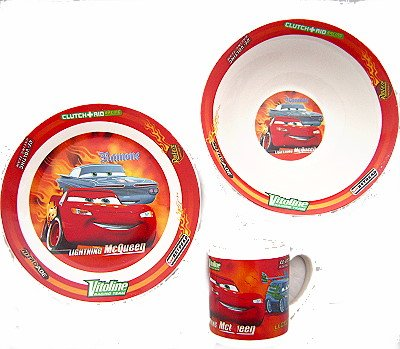 Disney Cars Porcelain Breakfast Set - Plate, Bowl, Cup