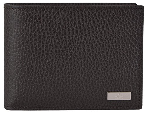 Gucci Mens Brown Textured Leather Plaque Logo W/Coin Pocket Bifold Wallet