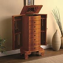 Hot Sale Deluxe jewelry armoire in light oak finish wood