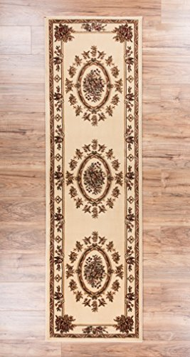 """Pastoral Medallion Ivory French European Formal Traditional 3x12 (2'7"""" x 12') Runner Rug Stain / Fade Resistant Contemporary Floral Thick Soft Plush Hallway Entryway Living Dining Room Area Rug"""