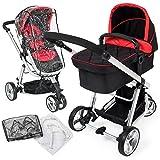 TecTake 3 en 1 Sillas de paseo coches carritos para bebes convertible negro - rojo