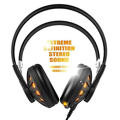 SOMIC G932 USB PC Gaming Headset 7.1 Virtual Surround Sound,Over Ear Computer Gaming Headphones With LED lighting and Retractable Microphone