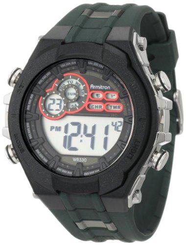 Armitron Men's 40/8188GRN Military Green Resin Digital Sport Chronograph Watch