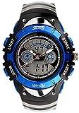 5 色 キッズ 子供 用 ダイバーズ LED ライト 多機能 腕 時計 デジアナ 防水 ストップ ウォッチ スポーツ アウトドア (ブルー)
