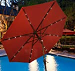 Outsunny 9FT Solar Patio Umbrella Til...